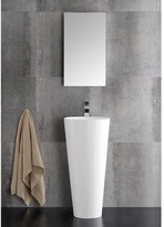 "Fresca Lucido 16"" Messina Pedestal Modern Bathroom Sink with Medicine Cabinet"