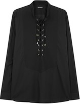 Balmain Black Lace-up Cotton Shirt