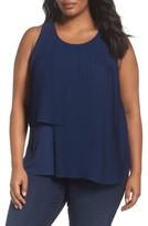 Sejour Plus Size Women's Asymmetrical Pleat Front Shell