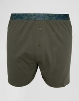 Asos Jersey Boxers In Khaki With Camo Waistband