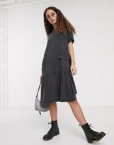 Noisy May midi t-shirt dress with peplum hem in black acid wash