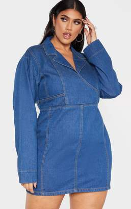 PrettyLittleThing Plus Mid Wash Buckle Detail Denim Dress