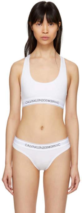 Calvin Klein White Cotton Logo Collection Bralette