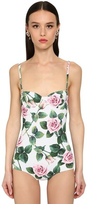 Dolce & Gabbana Jersey Printed One Piece Swimsuit