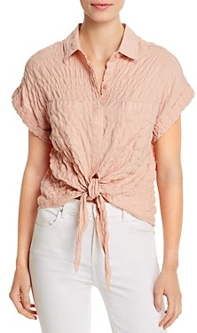 Elan International Crinkled Tie-Front Top