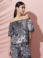 New York & Co. 7th Avenue Design Studio - Off-Shoulder Blouse - Black & White Print