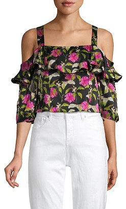 Milly Moody Floral Cold-Shoulder Silk Top
