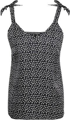 LOVE Stories Cara Bow-embellished Printed Twill Pajama Top