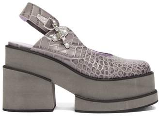 Ganni Crocodile-effect Leather Platform Shoes - Womens - Grey