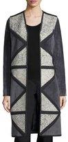 Tory Burch Crochet-Trim Suede Coat