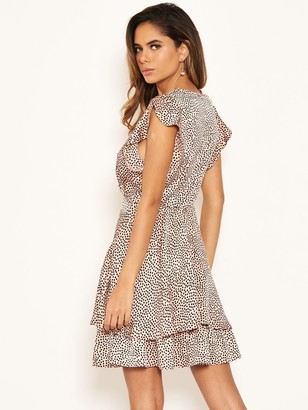 AX Paris Petite Frill Hem Polka Dot Dress - Pink