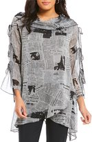 IC Collection Long Sleeve Newspaper Print Tunic