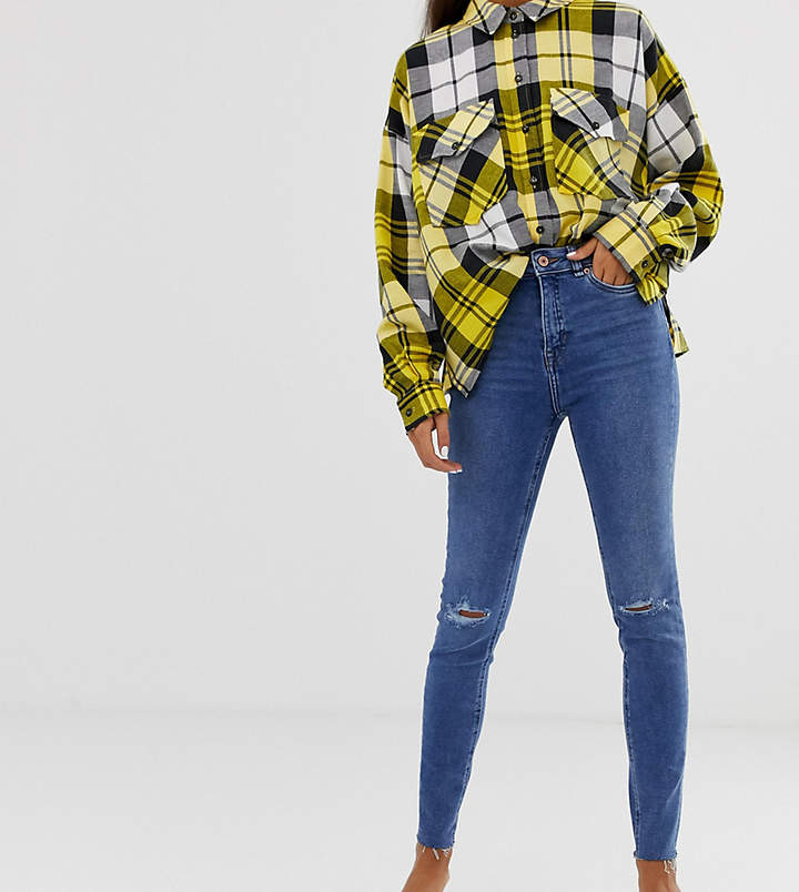 New Look ripped cut off skinny jeans in blue
