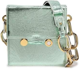 Marni Embellished Metallic Cracked-leather Shoulder Bag