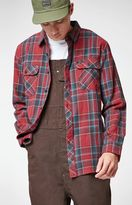 Brixton Bowery Burgundy Plaid Flannel Long Sleeve Button Up Shirt