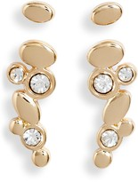 Halogen Set of 2 Stud and Crystal Studded Ear Crawlers