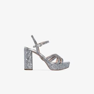 Miu Miu silver 105 glitter multi strap platform sandals