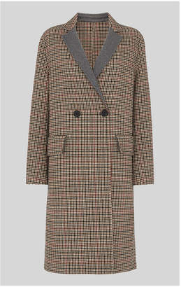Whistles Check Double Faced Wool Coat