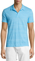 Orelebar Brown Felix Johnny-Collar Fine-Stripe Polo Shirt, Atoll