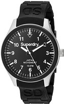 Superdry 'Scuba Midi' Quartz Brass-Plated-Stainless-Steel and Silicone Dress Watch, Color:Black (Model: SYL120BL)