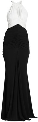 Alexander McQueen Bi Color Ruched Sleeveless Gown