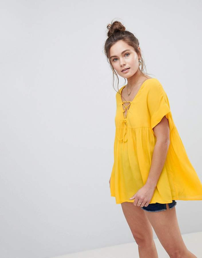 Asos Design DESIGN smock tunic with lace up detail