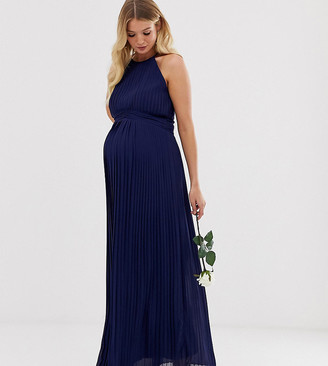 TFNC Maternity bridesmaid exclusive high neck pleated maxi dress in navy