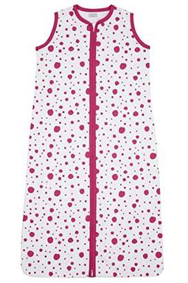 Camilla And Marc Meyco 410933 Summer Sleeping Bag 70 cm Unlined 100% Cotton 0-6 Months with Bright Pink and White Dots Motif Multi-Coloured