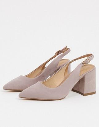 ASOS DESIGN Sammy slingback mid heels in taupe
