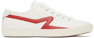 Rag & Bone White and Red Court Low Top Sneakers