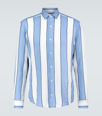 Frescobol Carioca Striped long-sleeved linen shirt
