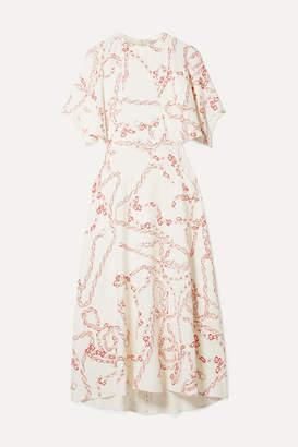 Victoria Beckham Paneled Printed Crepe Midi Dress - Cream