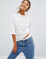 Daisy Street Relaxed Boxy T-Shirt With You Are Monday Stitching