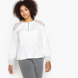 Castaluna Plus Size Laced-Sleeve Zip-Front Blouse