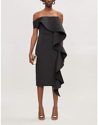 Lavish Alice Ruffled Bardot stretch-crepe midi dress