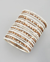 Chamak by Priya Kakkar Set of 18 Multi-Crystal Bangles, White and Copper