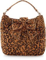 Betsey Johnson Studded Bow Leopard-Print Satchel