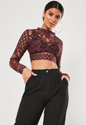Missguided Purple Lace Long Sleeve Crop Top