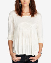 Denim & Supply Ralph Lauren Lace-Trim Slub Jersey Top