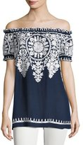 Naeem Khan Embroidered Off-the-Shoulder Blouse, Navy/White