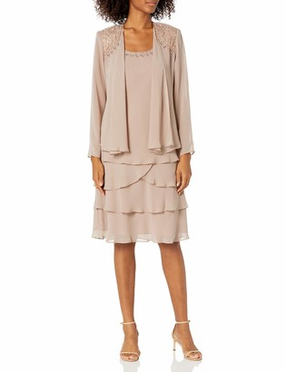 SL Fashions Women's Embellished Tiered Jacket Dress (Petite and Regular)