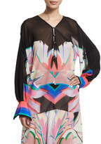 Roberto Cavalli Long-Sleeve V-Neck Printed Blouse, Black/Pink/Bright Coral/Blue