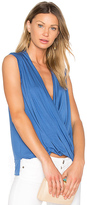 Bobi Tencel Jersey Cross Front Sleeveless Top in Blue. - size S (also in XS)