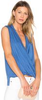 Bobi Tencel Jersey Cross Front Sleeveless Top in Blue