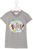 Fendi exploding logo print T-shirt - kids - Cotton/Spandex/Elastane - 6 yrs