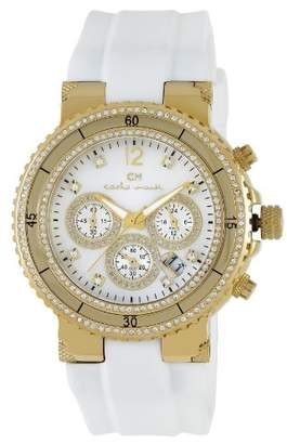 Mother of Pearl Carlo Monti Ladies Quartz Watch with Dial Analogue Display and White Silicone Strap CM202-286