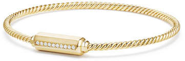 David Yurman 18K Gold Barrel Bracelet with Diamonds, Size L