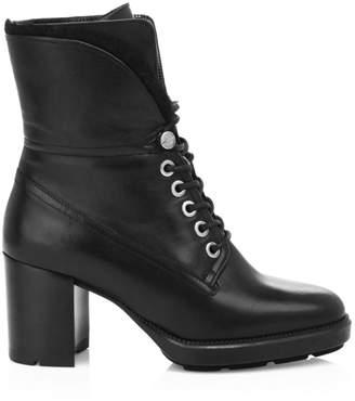 Aquatalia Idris Faux Fur-Trimmed Leather Combat Boots