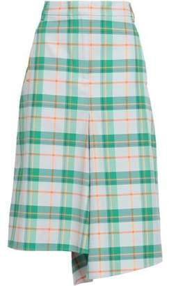 Tibi Asymmetric Checked Twill Skirt