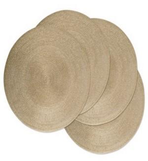 Design Imports Metallic Round Polypropylene Woven Placemat, Set of 4